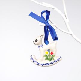 Kerstbal bambi - tulp gemengd blauw