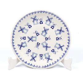 Gebaksbordje - molen blauw