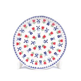 Ontbijtbord - molen blauw met rode tulp