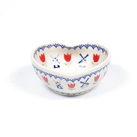 Bakje hart - molen blauw met rode tulp