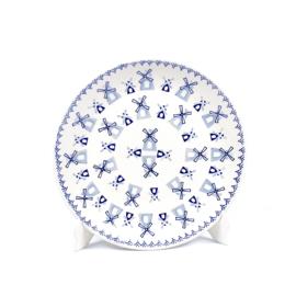 Ontbijtbord - molen blauw