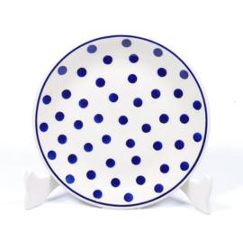 Gebakbordje - stip blauw