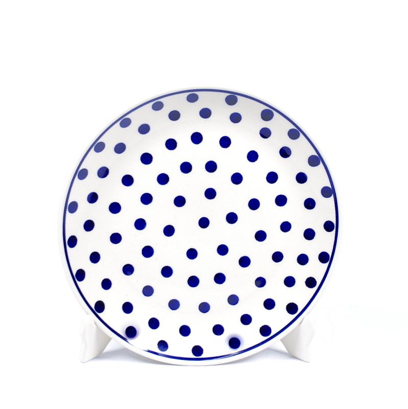 Ontbijtbord - stip blauw