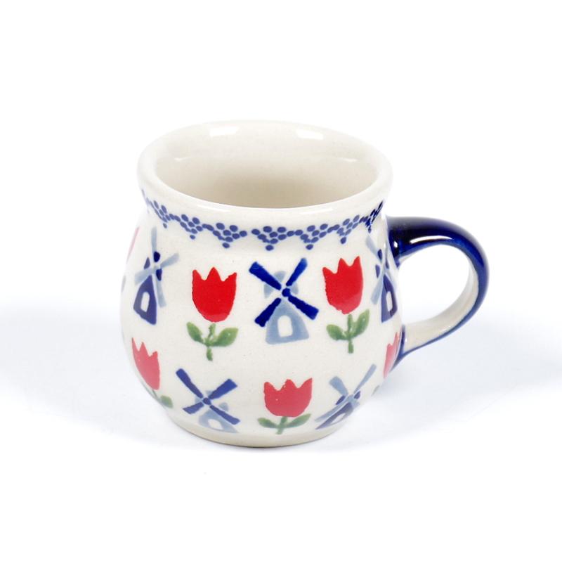 Bolmokje voor espresso - molen blauw met rode tulp