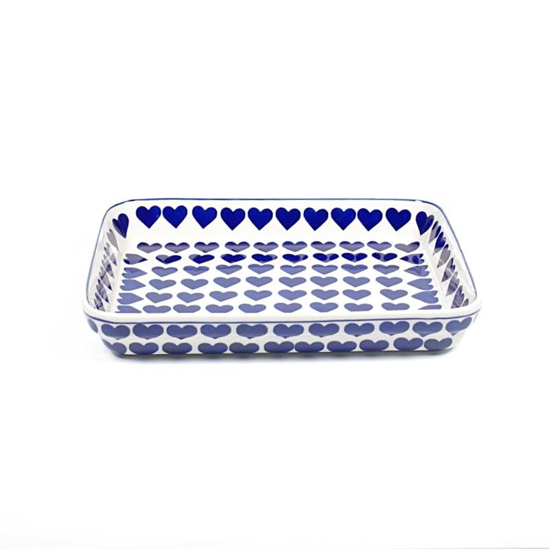Ovenschaal ondiep medium - hart blauw groot