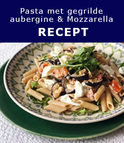 Pasta met gegrilde aubergine en mozzarella