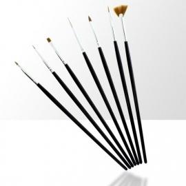 7 delige nailart penselen set zwart
