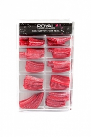 100 french royal tips glitter rood