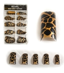 100 french tips royal leopard print