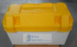 Accubak plastic geel