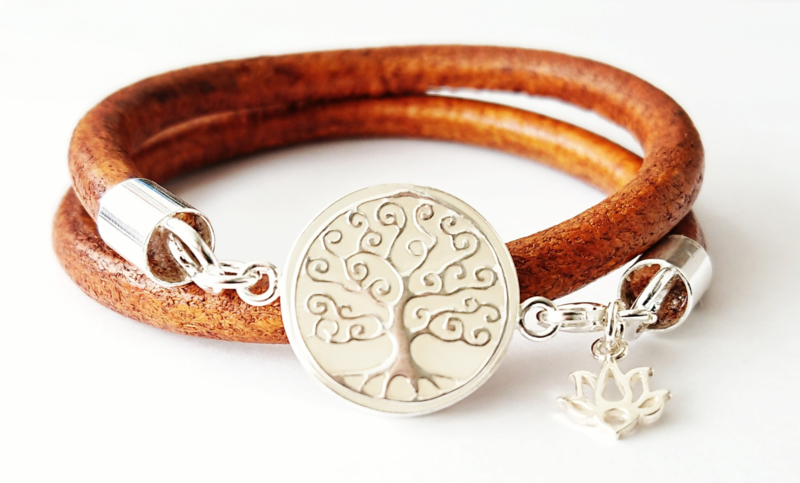 Tree of life leren armband