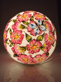 Lamp 91 roze bloemen blauwe vlinders