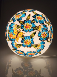 Lamp 93 blauwe bloemen gele vlinders