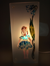 Bloklamp blauw elfje vlechtjes