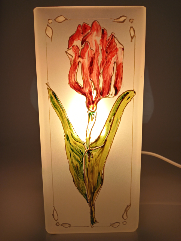 Bloklamp wit rode tulp
