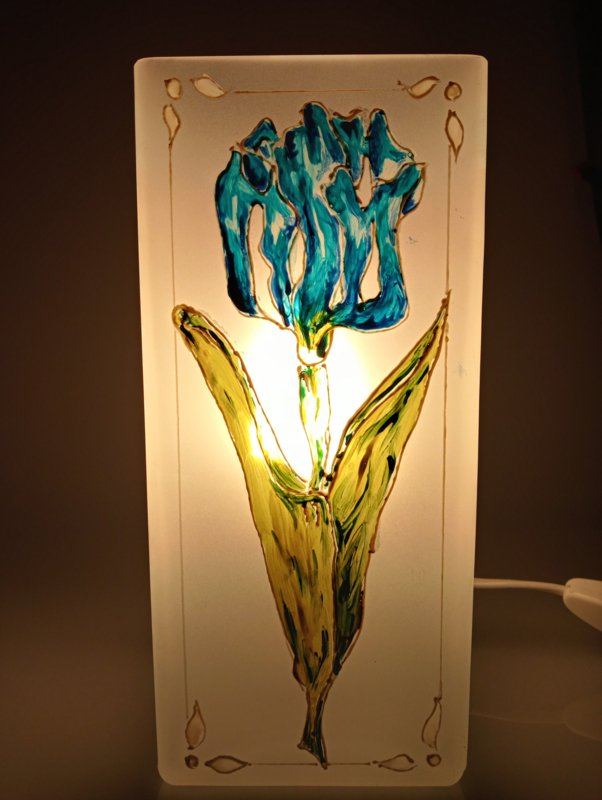 Bloklamp wit blauwe tulp
