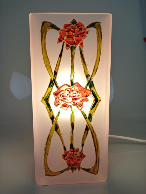 Bloklamp roos art nouveau roos links