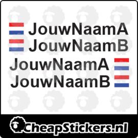 ARIAL NAAM STICKERSET MET NL VLAG (2 NAMEN)