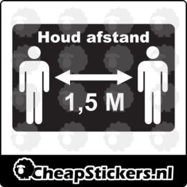 1,5M AFSTAND STICKER RECHTHOEK