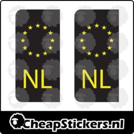 NL KENTEKEN STICKERSET ZWART