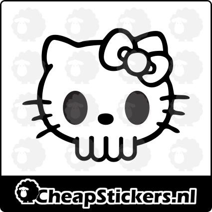 HELLO KITTY SKULL STICKER