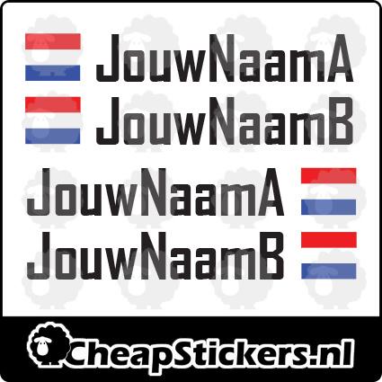 AGENCY NAAM STICKERSET MET NL VLAG (2 NAMEN)