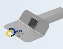 Hemelwaterafvoer zijuitloop aluminium UD 60x100/ 330mm 45gr. prijs per stuk