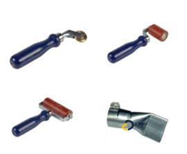 Aandrukrollen set 28 80 en 45mm + mondstuk 40mm kunststof/ pvc prijs per set