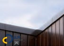 Binnenhoek Roval daktrim bitumen 30x28mm blank 500x500mm + verbindingsstuk prijs per stuk