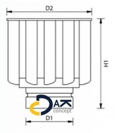 VT turbine windgedreven ventilator RVS 131mm aluminium 380m3/h Anjo