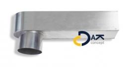 Zinken stadsuitloop 60x80mm diameter 80mm buis, prijs per stuk