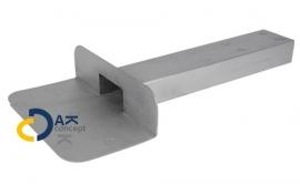 Hemelwaterafvoer loden kiezelbak zijuitloop UD 60x100/450mm 90gr. prijs per stuk