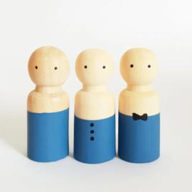 SPJ | houten pop man/jongen blauw