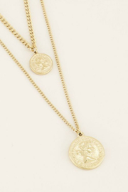 My Jewellery | ketting dubbel twee muntjes goud