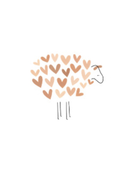 wenskaart kleinliefs   schaap met roze hartjes