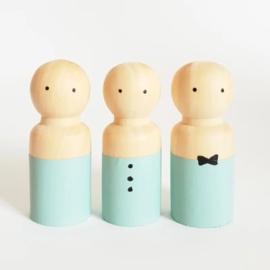 SPJ | houten pop man/jongen lichtblauw