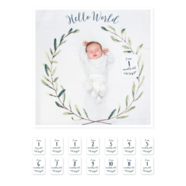 Lulujo Baby's First Year Swaddle & Cards | Hello World