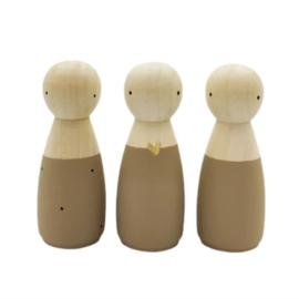 SPJ | houten poppetje vrouw/meisje bruin