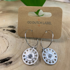Go Dutch Label | oorbellen met wit bolletje zilver