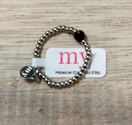 My Jewellery | Stretch ring zilver steentje zwart