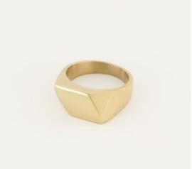 My Jewellery | Zegelring schuin vlak goud mt 19