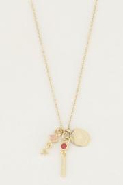 My Jewellery | ketting Rose Quartz & Red Jade goud