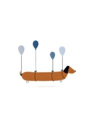 wenskaart kleinliefs   teckel met ballonnen