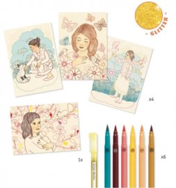 Djeco knutselen | kleuren op nummer meisje met dieren