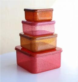 Little Lovely Company lunch & snackbox set | glitter autumn pink