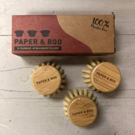Paper & Boo | 3x bamboe afwasborstelkop
