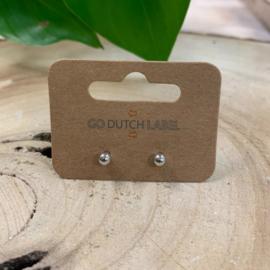Go Dutch Label   oorknopjes bolletje groot zilver