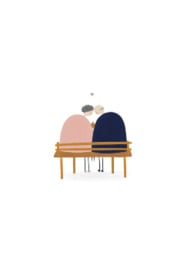 wenskaart kleinliefs   echtpaar op bankje