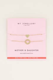 My Jewellery | moeder dochter armband hartje goud