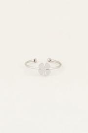 My Jewellery | verstelbare ring klavertje, lucky charm zilver